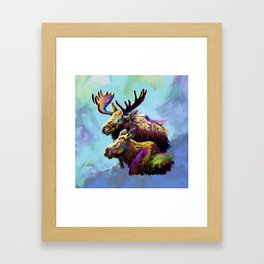 Colorful Moose Framed Art Print