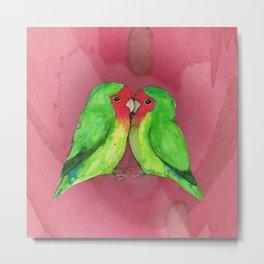 Peach faced lovebirds Metal Print