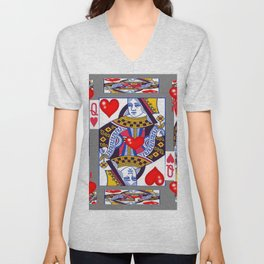 RED QUEEN OF HEARTS ON GREY Unisex V-Neck