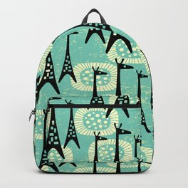 Mid Century Modern Giraffe Pattern Black and Turquoise Backpack