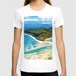 Crystal white sands and turquoise blue waters of Whitehaven Beach – Australia T-shirt