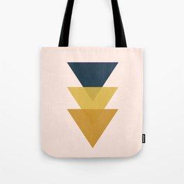 Triangle Trio Minimalist Geometric in Mustard Yellow Navy Blue Blush Pink Tote Bag