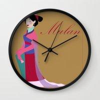 mulan Wall Clocks featuring Mulan by Fraopic