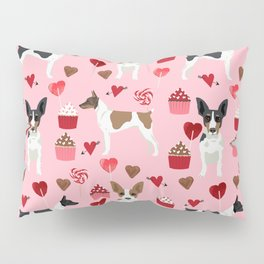 Rat Terrier valentines day cupcakes love hearts dog breed pet art dog pattern gifts unique pure bree Pillow Sham