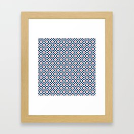 Navy Blue and Coral Diamond Ikat Pattern Framed Art Print