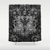sin city Shower Curtains featuring SIN OF IDOLATRY by DIVIDUS