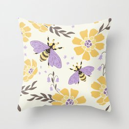 Honey Bees and Flowers - Yellow and Lavender Purple Throw Pillow
