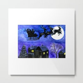 Flying Santa in watercolor Metal Print