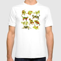 Kitchen Cats MEDIUM White Mens Fitted Tee