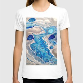 Blue and Silver Fluid Abstract - Silver Lining T-shirt