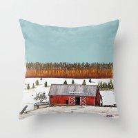 john snow Throw Pillows featuring First Snow by John Wisker