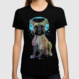 French Bulldog With Headphones T-shirt