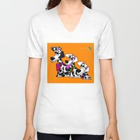 puppies V-neck T-shirts featuring Dalmatian Puppies by Chip Dar Juan