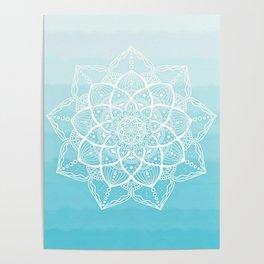 Blue white mandala Poster