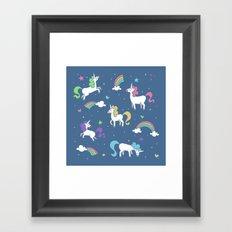 Unicorns and Rainbows - Blue Framed Art Print