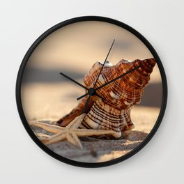 #Light and #Shadow #big #Shell and #starfish at the #beach Wall Clock
