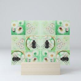 Bees and flowers Mini Art Print