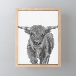 Black and White Cow Framed Mini Art Print