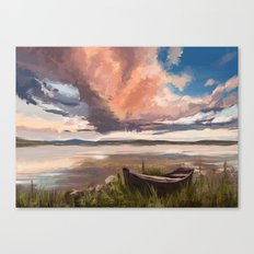 Sunrise over the lake Canvas Print