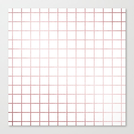 Simply Grid in Rose Gold Sunset Canvas Print