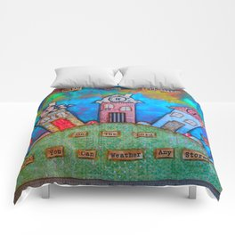 Tiny House weathering the storm Comforters