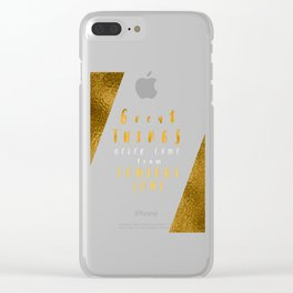 Great things never came from comfort zone #motivationialquote Clear iPhone Case