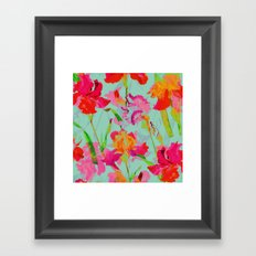 bright abstract iris on turquoise Framed Art Print