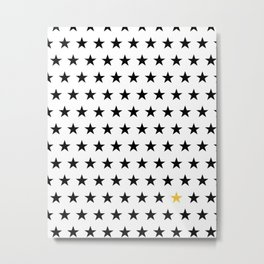 Black stars pattern with single golden star on white Metal Print