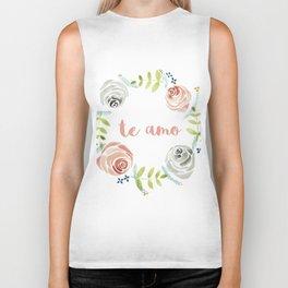 'I Love You' in Spanish - Floral Wreath Biker Tank