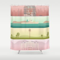wes anderson Shower Curtains featuring A Wes Anderson Collection by George Townley