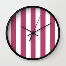 Raspberry rose - solid color - white vertical lines pattern Wall Clock