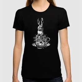 Rabbit in a Teacup | Black and White T-shirt