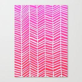 Herringbone – Pink Ombré Canvas Print