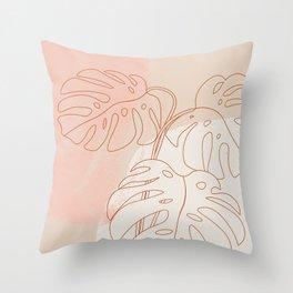 Monstera Blush #shapeart #digitalart Throw Pillow