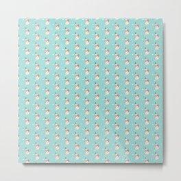 Modern teal white cute Christmas bear pattern Metal Print
