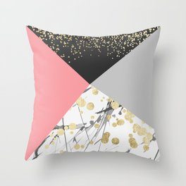 Modern faux gold pink color block confetti Throw Pillow