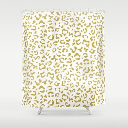 Animal Print, Leopard Spots, Glitter - Gold White Shower Curtain