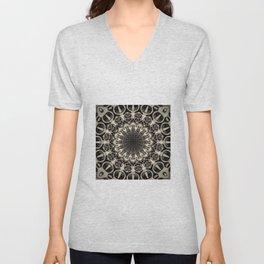 Neutral Abstract Black Ink Bohemian Mandala Unisex V-Neck
