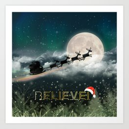 Santa's Midnight Ride Art Print