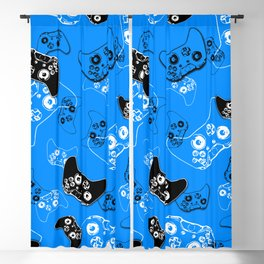 Video Game in Blue Blackout Curtain