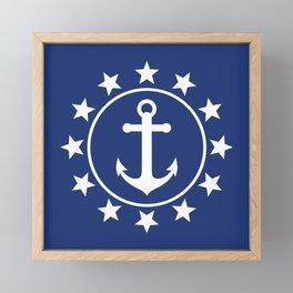 White Anchors & Stars Pattern on Navy Blue Framed Mini Art Print