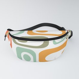 MCM Retro Utopia: Cheerful Minimalist Mid-Century-Modern Pattern in Celadon, Olive, Orange, & White Fanny Pack