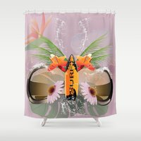 surfboard Shower Curtains featuring Surfing, sunglasses with surfboard  by nicky2342