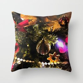 Bows Stars and Baubles Decorated Tree Throw Pillow