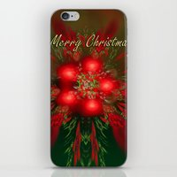 merry christmas iPhone & iPod Skins featuring Merry Christmas by Roger Wedegis