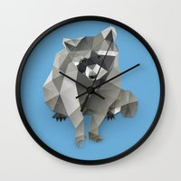 racoon Wall Clocks featuring Racoon. by Diana D'Achille