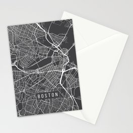 Boston Map, Massachusetts USA - Charcoal Portrait Stationery Cards