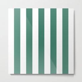 Deep aquamarine green - solid color - white vertical lines pattern Metal Print