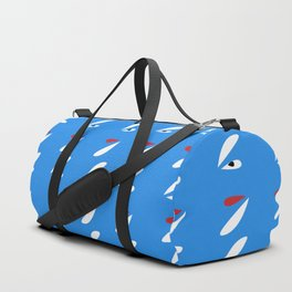 Abstract Petals White Blue #pattern #design #style #home #decor #kirovair Duffle Bag