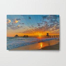Painted Sky Over Huntington Beach Pier. Metal Print